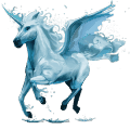winged riding unicorn water element