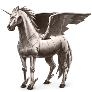 winged riding unicorn metal element
