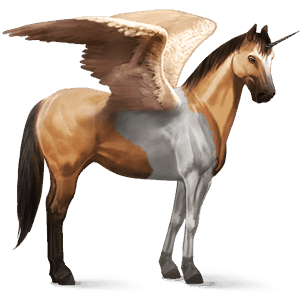 winged riding unicorn paint horse dun tobiano