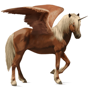 winged riding unicorn brumby flaxen chestnut